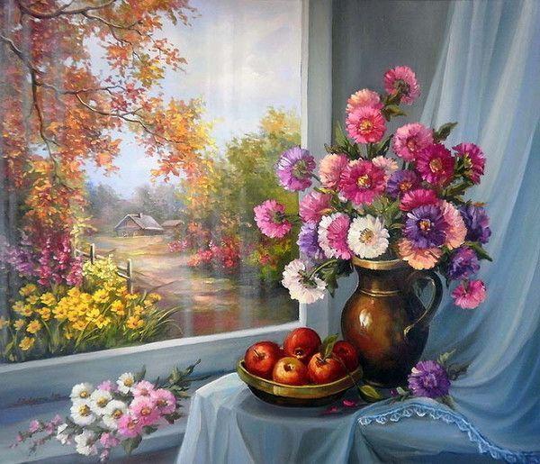 Paysage automne par fenêtre fleurie