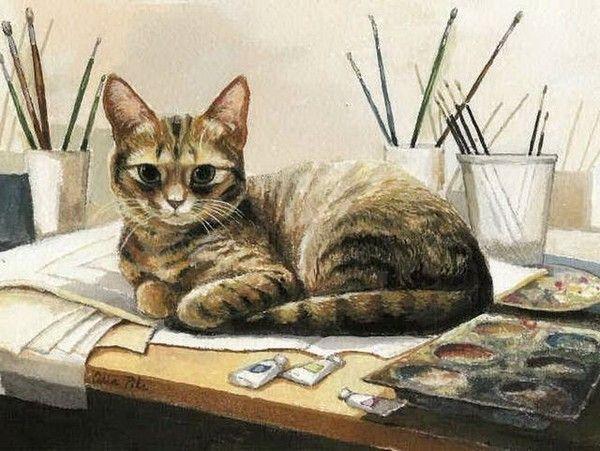 Chats peints serie A
