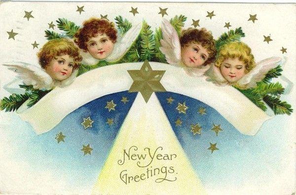 Hiver & Noël : cartes postales anciennes ( Nouvel an )