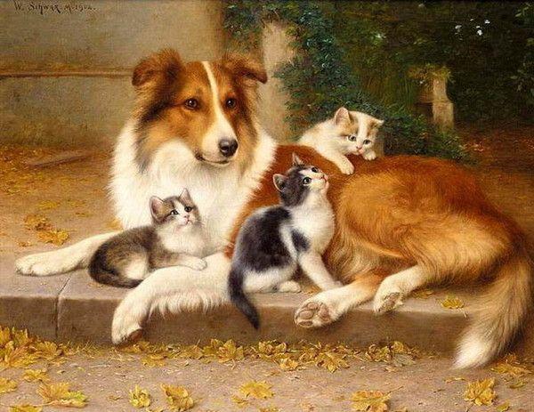 14-chats et chiens dans l'art classique