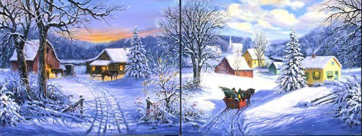 Illustrations de linda picken hiver paysages et fetes page 3 - Paysage de noel dessin ...