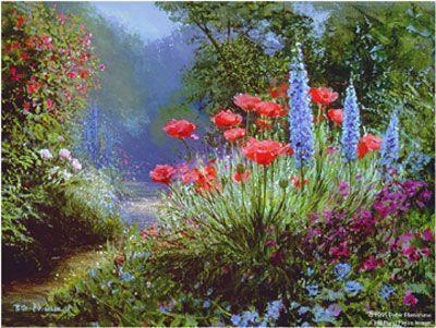 Fleurs et jardins en peinture de tout en vrac for Fleurs dans le jardin