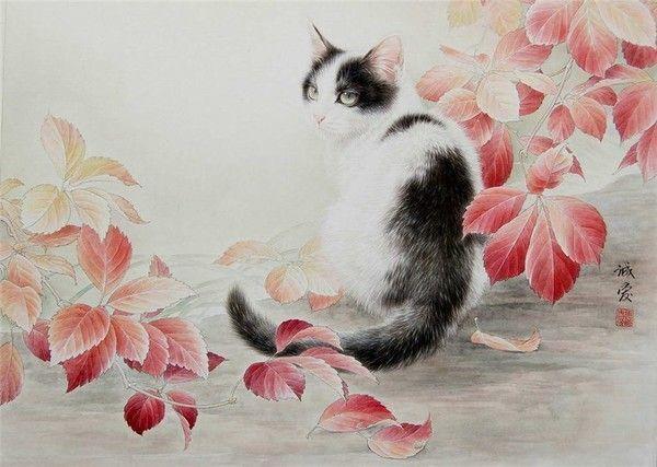 14,chats en peinture serie A ( X.C)
