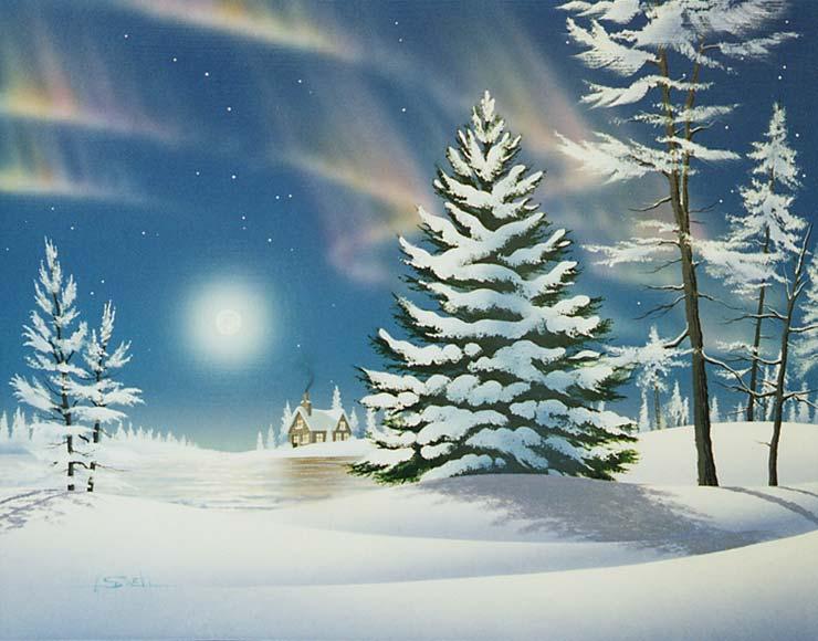 Illustrations de linda picken hiver paysages et fetes - Paysage enneige dessin ...