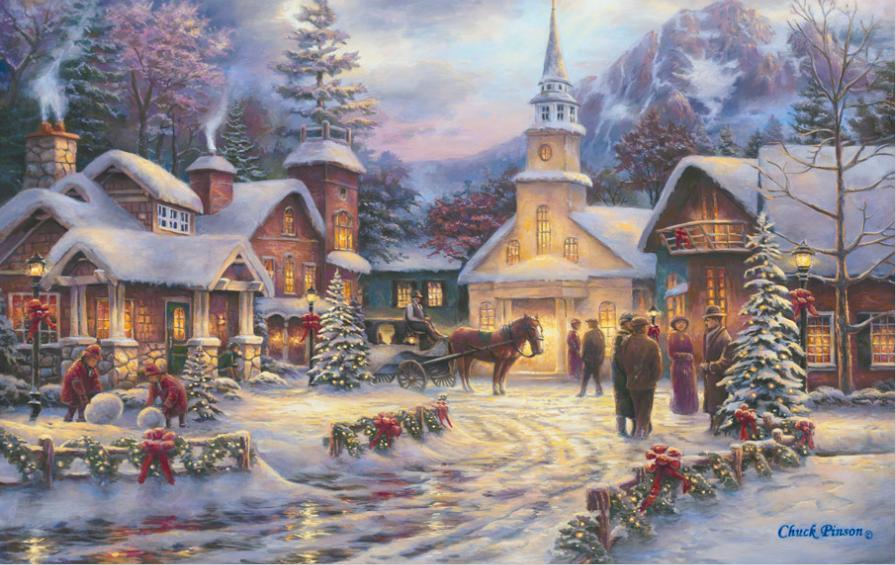 Cottages et villages en peinture page 5 - Peinture de noel ...