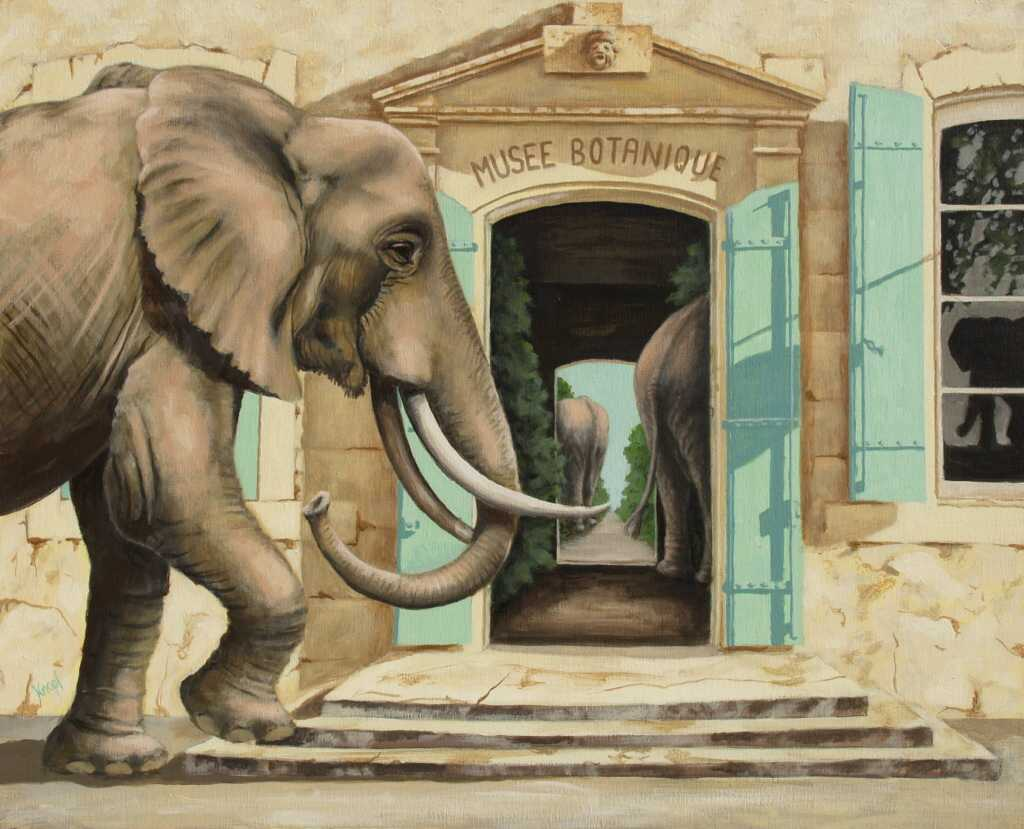 """Оригинал схемы вышивки  """"слоны в музее """" ."""