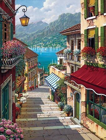 Divers villages et villes en peinture