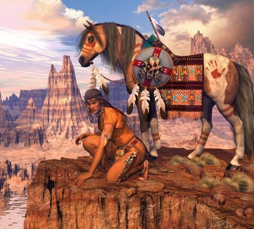 ART DIGITAL 3D Amerindiens et Cow-Boys